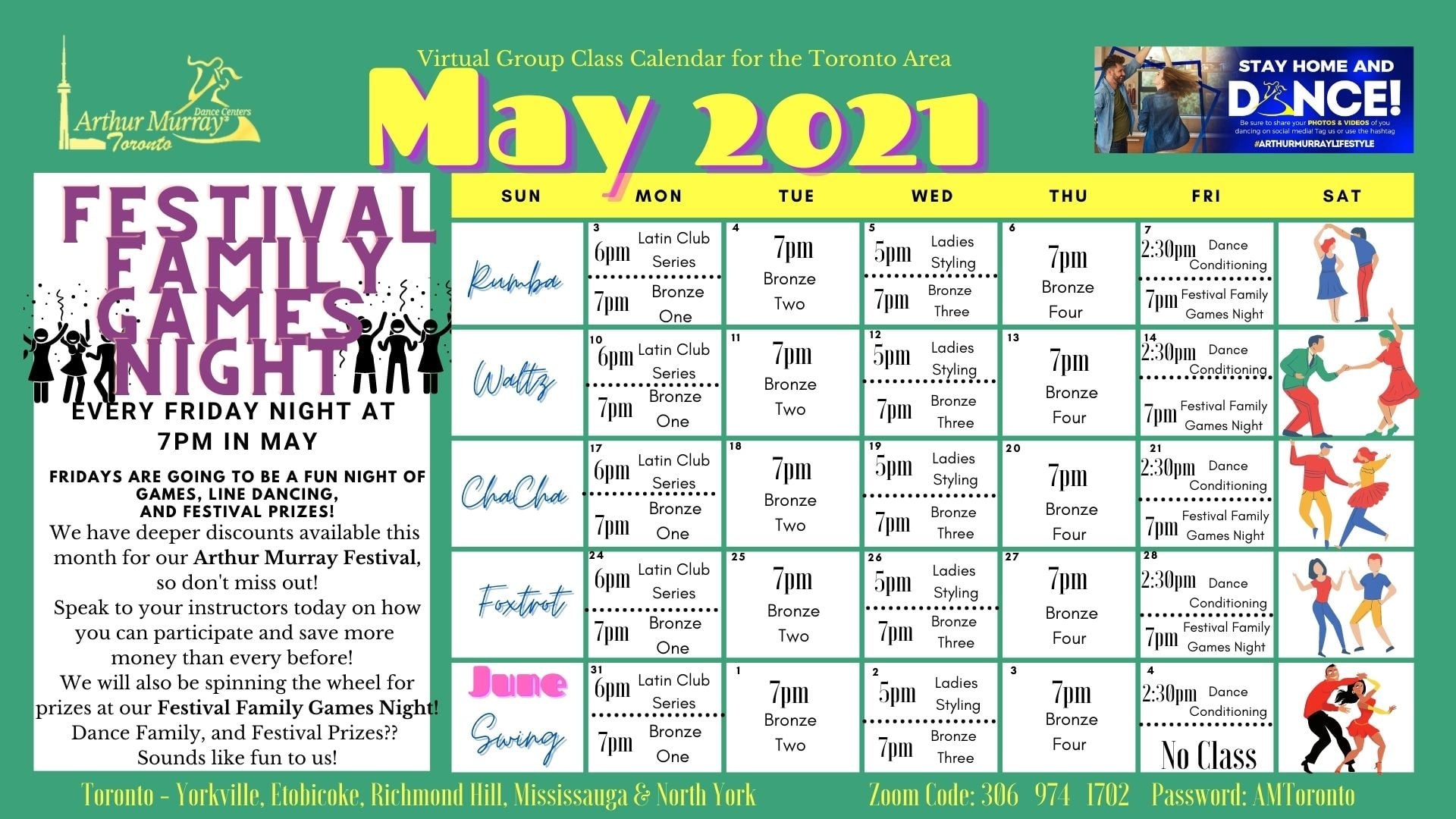Arthur Murray Dance Studio Toronto - Etobicoke virtual class schedule for the month of May 2021 including weekly private dance lessons hosted on zoom as well as group classes and fun dance studio weekly events for dance students beginners welcome
