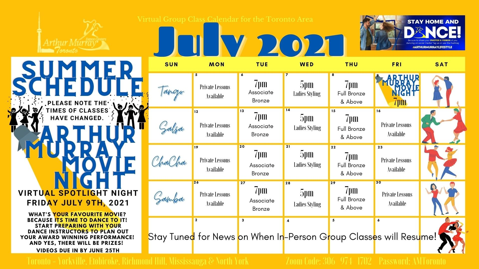 Arthur Murray Toronto - Yorkville July 2021 Dance Class Calendar including weekly schedule including tango, samba, cha cha, salsa, private dance lessons, group dance classes, dance parties, and dance studio events in Toronto